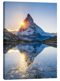 Lærredsbillede  Riffelsee and Matterhorn in the Swiss Alps - Jan Christopher Becke