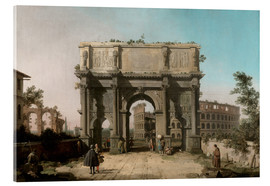 Akrylbillede  Arch of Constantine with the Colosseum - Antonio Canaletto