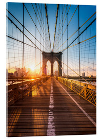 Akrylbillede  Brooklyn Bridge i sollyset i New York City, USA - Jan Christopher Becke