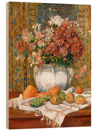 Print på træ  Still Life with Flowers and Prickly Pears - Pierre-Auguste Renoir