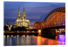 Akrylbillede  Cologne Cathedral and Hohenzollern Bridge at night - Oliver Henze