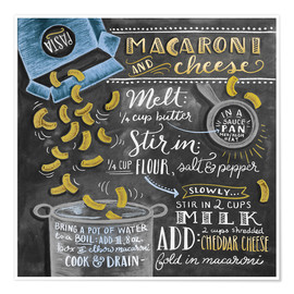 Premium-plakat  Macaroni and Cheese opskrift (engelsk) - Lily & Val
