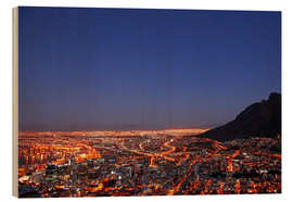 Print på træ  Cape Town at night, South Africa - wiw