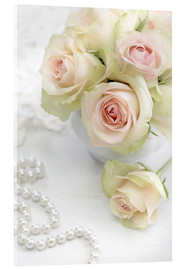 Akrylbillede  Pastel-colored roses with pearls