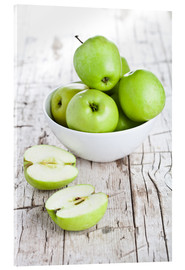 Akrylbillede  Green apples in a bowl