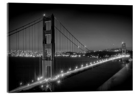 Akrylbillede  Evening Cityscape of Golden Gate Bridge - Melanie Viola