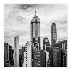 Premium-plakat Houses Sea Hong Kong in black and white