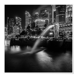 Premium-plakat  Merlion Singapore black and white - Sebastian Rost