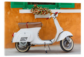 Akrylbillede  White scooter in front of a window