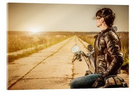 Akrylbillede  Biker girl in a brown leather jacket