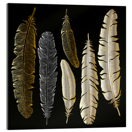 Akrylbillede  Feathers in Gold and Silver