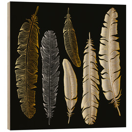 Print på træ  Feathers in Gold and Silver