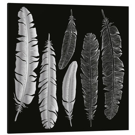 Print på aluminium  Feathers in silver