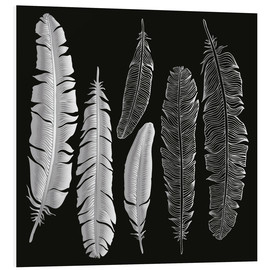 Print på skumplade  Feathers in silver