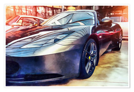 Premium-plakat Sports car with reflecting surface