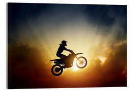 Akrylbillede  Biker jumping at sunset
