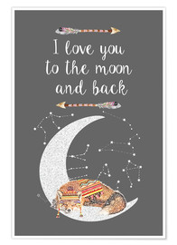 Premium-plakat I love you to the moon and back
