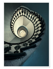 Premium-plakat Spiral staircase in beige and blue