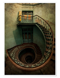 Premium-plakat Spiral staircase in an old building