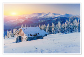 Premium-plakat Snowy hut at sunset