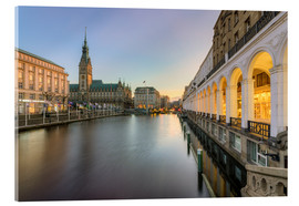Akrylbillede  Hamburg Alster Arcades and City Hall - Michael Valjak