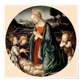Premium-plakat The Virgin Adoring the Christ Child with St. John the Baptist and Two Angels