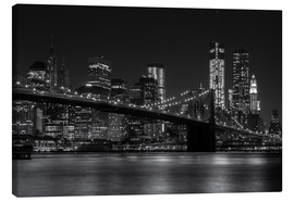 Lærredsbillede  Brooklyn Bridge at Night - Thomas Klinder