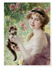 Premium-plakat Young girl with a kitten