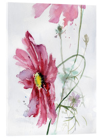 Akrylbillede  Cosmos flower watercolor - Verbrugge Watercolor