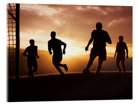Akrylbillede  Football players in front of sunset