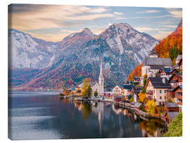 Lærredsbillede  Hallstatt, Austria in the Autumn - Mike Clegg Photography
