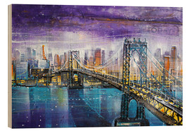 Print på træ  Manhattan Bridge - Johann Pickl