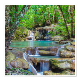 Premium-plakat  small waterfall in forest