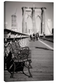 Lærredsbillede  Bench on Brooklyn Bridge - Denis Feiner