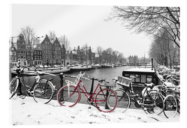 Akrylbillede  Red bicycle in the snow - George Pachantouris