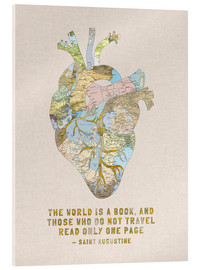 Akrylbillede  A Travelers Heart + Quote - Bianca Green