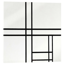 Akrylbillede  Composition in black and white, with double lines - Piet Mondriaan