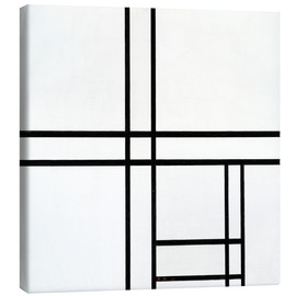 Lærredsbillede  Composition in black and white, with double lines - Piet Mondriaan