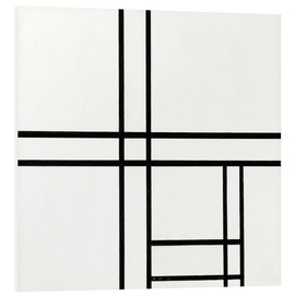 Print på skumplade  Composition in black and white, with double lines - Piet Mondrian