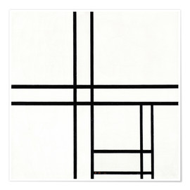 Premium-plakat  Composition in black and white, with double lines - Piet Mondrian