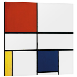 Print på aluminium  Composition C (No.III) with Red, Yellow and Blue - Piet Mondriaan