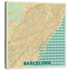 Lærredsbillede  Barcelona Map Retro - Hubert Roguski