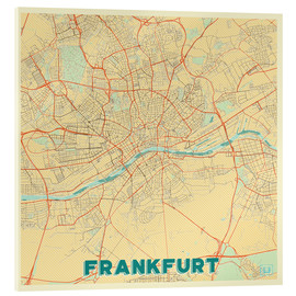 Akrylbillede  Frankfurt Map Retro - Hubert Roguski