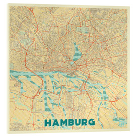 Akrylbillede  Hamburg, Germany Map Retro - Hubert Roguski