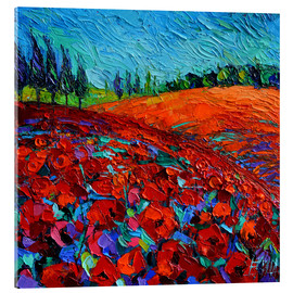 Akrylbillede  Field of poppies - Mona Edulesco