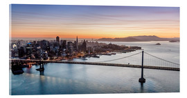 Akrylbillede  Aerial view of San Francisco at sunset, USA - Matteo Colombo