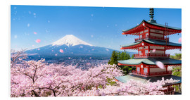 Print på skumplade  Chureito pagoda with Mount Fuji in Fujiyoshida, Japan - Jan Christopher Becke