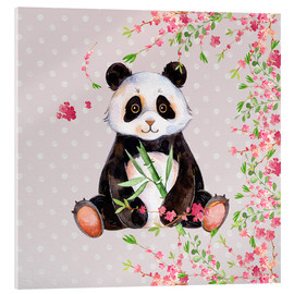 Akrylbillede  Little panda bear with bamboo and cherry blossoms - UtArt