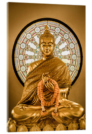 Akrylbillede  Buddha statue and Wheel of life background