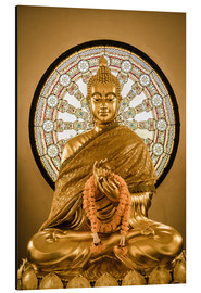 Print på aluminium  Buddha statue and Wheel of life background